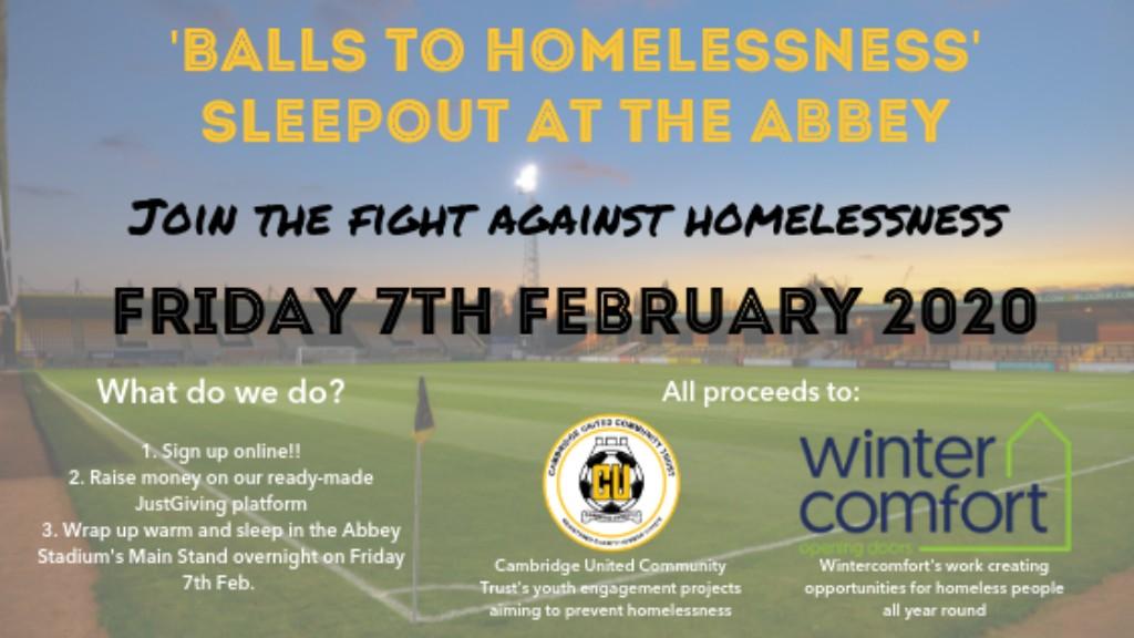 Cambridge United Wintercomfort homeless sleepout